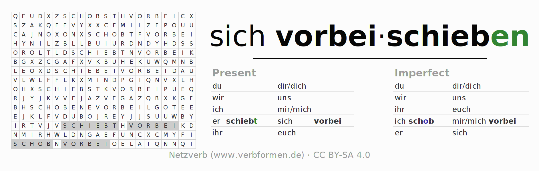 Word search puzzle for the conjugation of the verb sich vorbeischieben