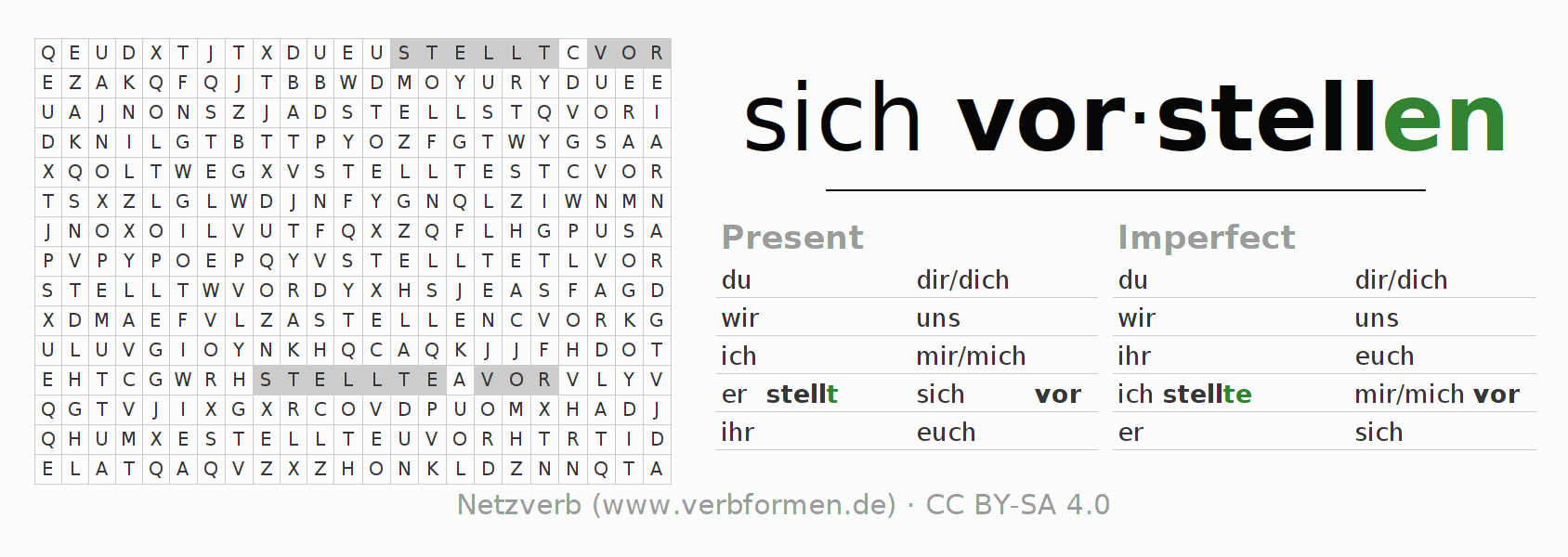 Word search puzzle for the conjugation of the verb sich vorstellen
