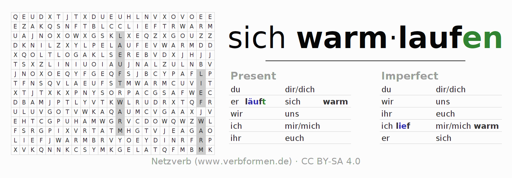 Word search puzzle for the conjugation of the verb sich warmlaufen