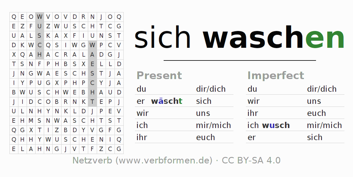 Word search puzzle for the conjugation of the verb sich waschen
