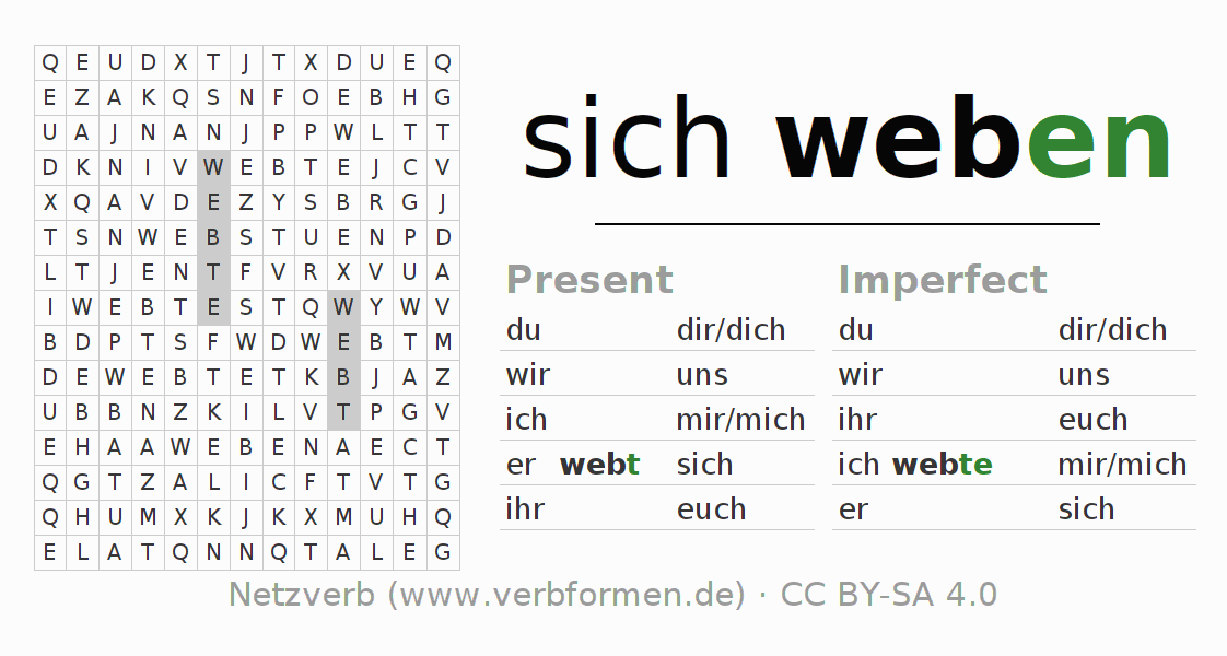 Word search puzzle for the conjugation of the verb sich weben (regelm)