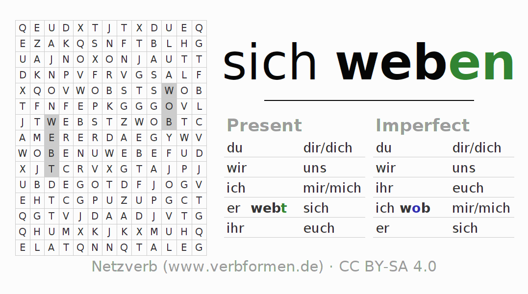 Word search puzzle for the conjugation of the verb sich weben (unr)