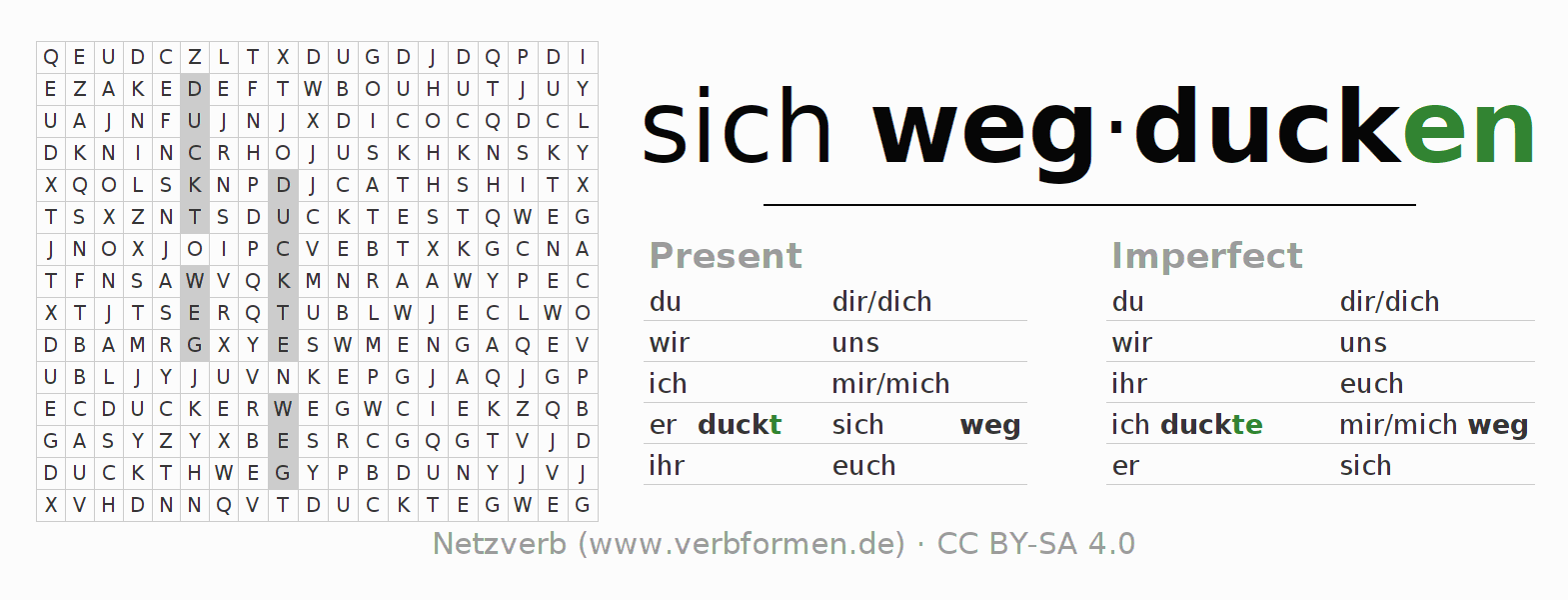 Word search puzzle for the conjugation of the verb sich wegducken