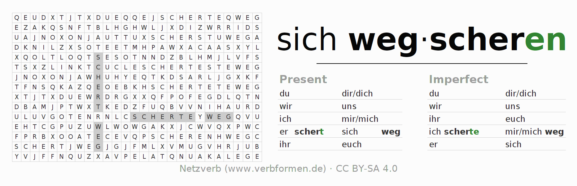 Word search puzzle for the conjugation of the verb sich wegscheren
