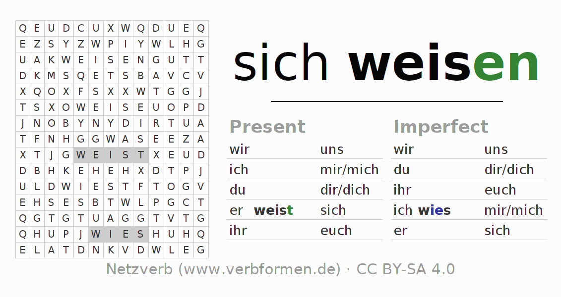Word search puzzle for the conjugation of the verb sich weisen