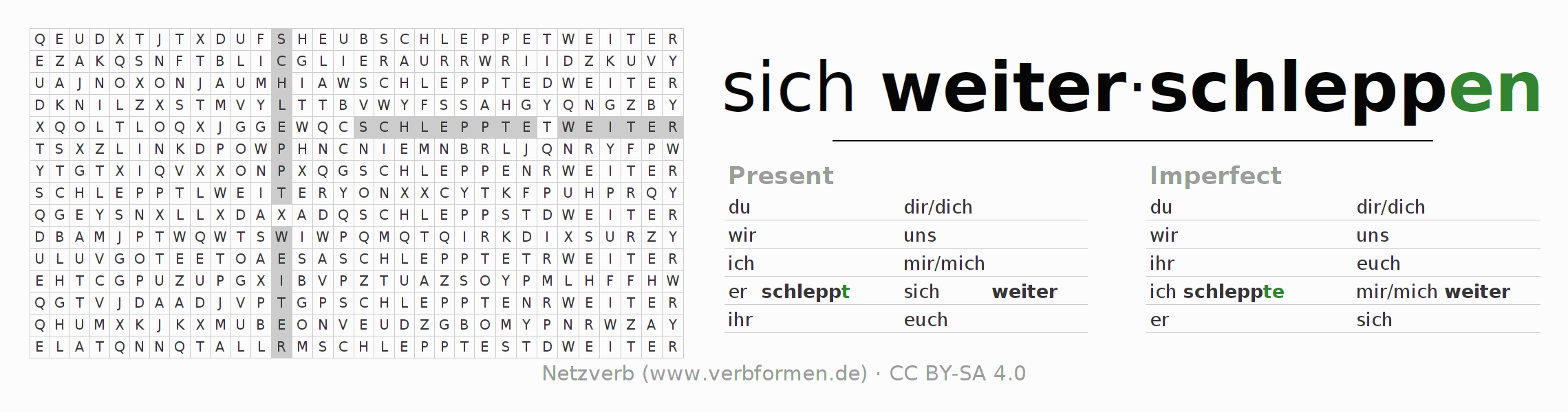 Word search puzzle for the conjugation of the verb sich weiterschleppen