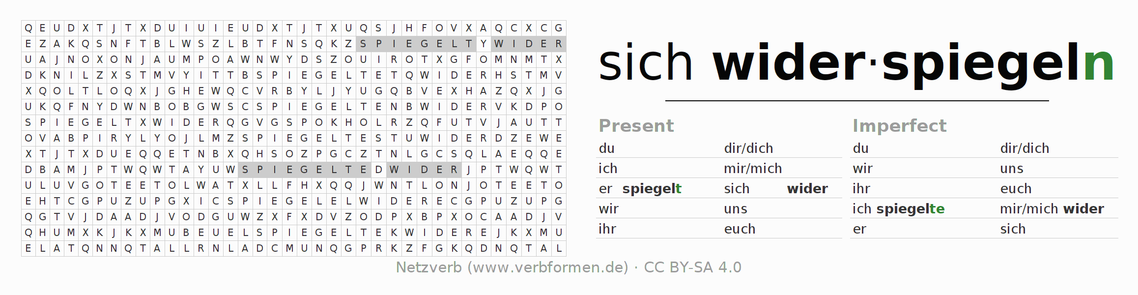 Word search puzzle for the conjugation of the verb sich wider-spiegeln