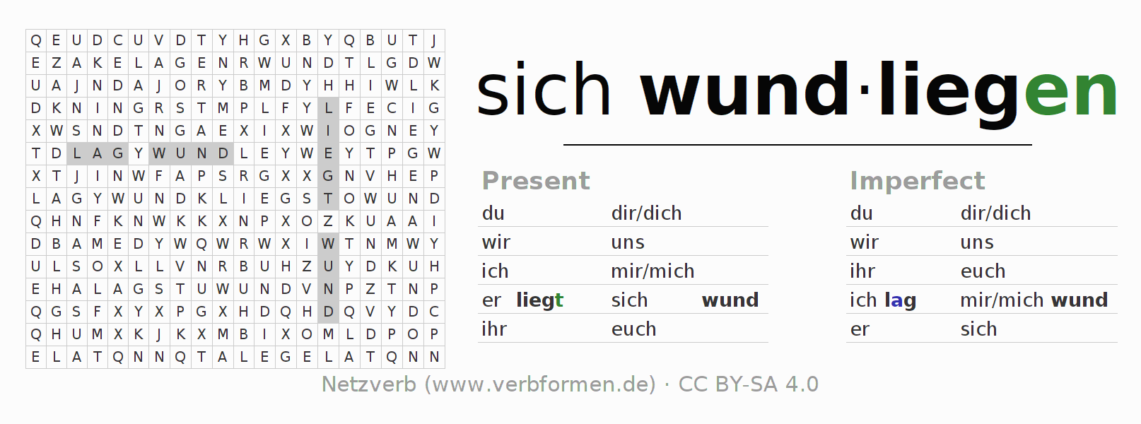 Word search puzzle for the conjugation of the verb sich wundliegen