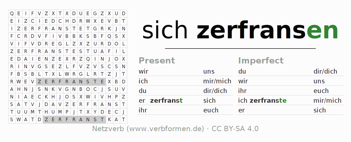 Word search puzzle for the conjugation of the verb sich zerfransen (hat)