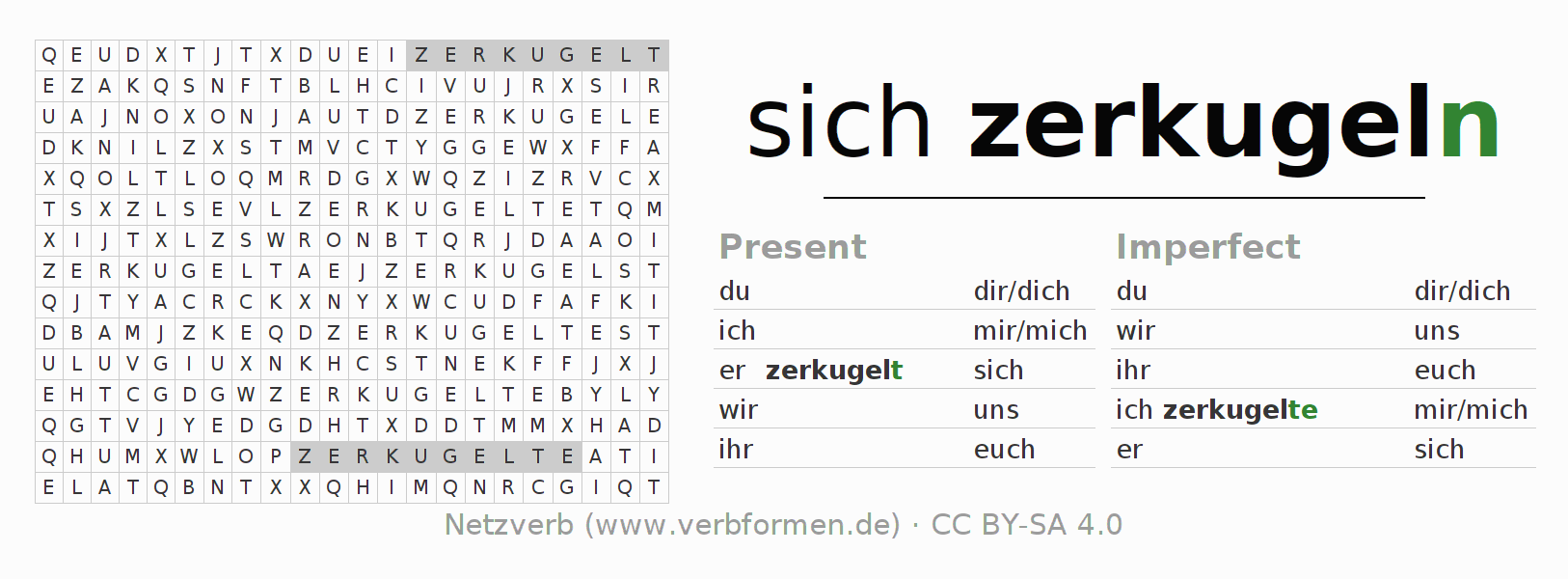 Word search puzzle for the conjugation of the verb sich zerkugeln