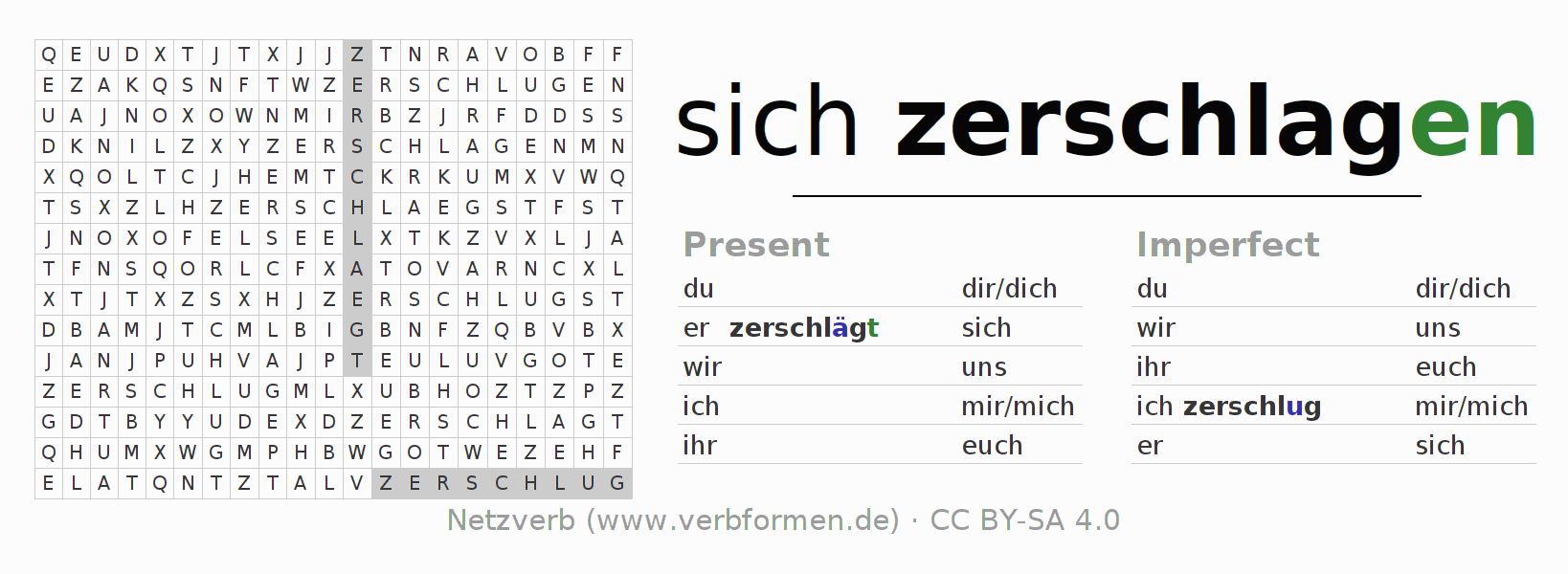 Word search puzzle for the conjugation of the verb sich zerschlagen