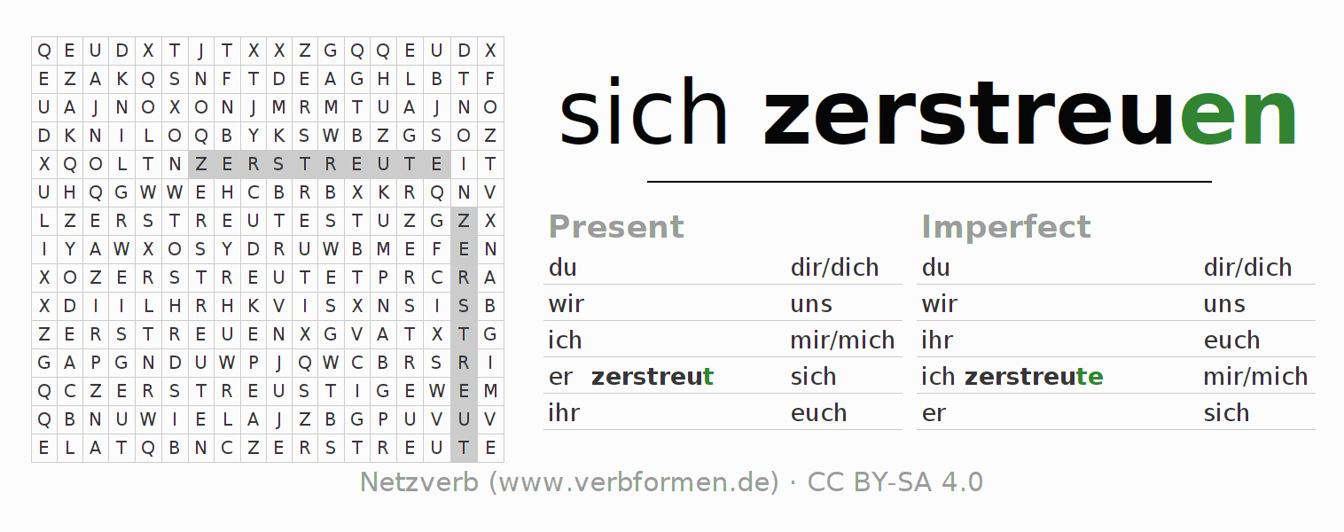 Word search puzzle for the conjugation of the verb sich zerstreuen