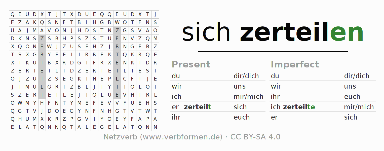 Word search puzzle for the conjugation of the verb sich zerteilen