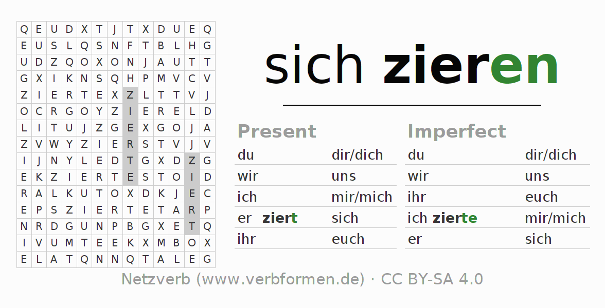Word search puzzle for the conjugation of the verb sich zieren