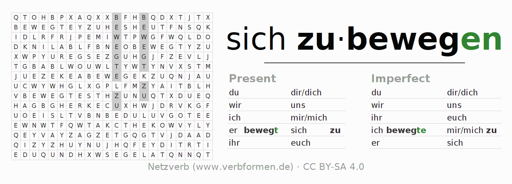 Word search puzzle for the conjugation of the verb sich zubewegen
