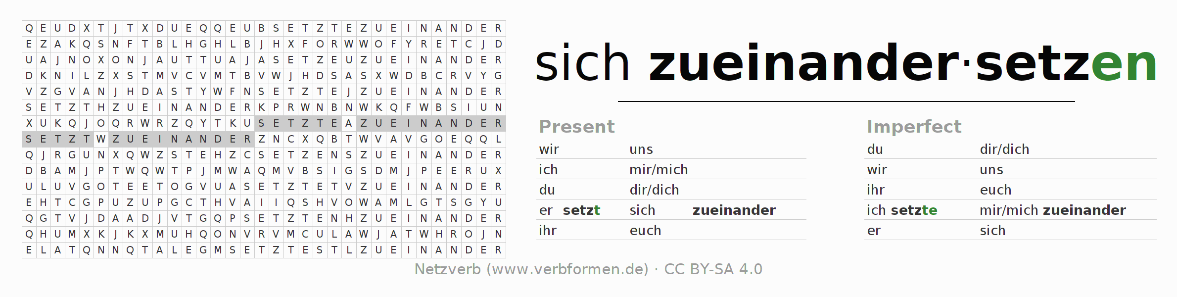 Word search puzzle for the conjugation of the verb sich zueinandersetzen