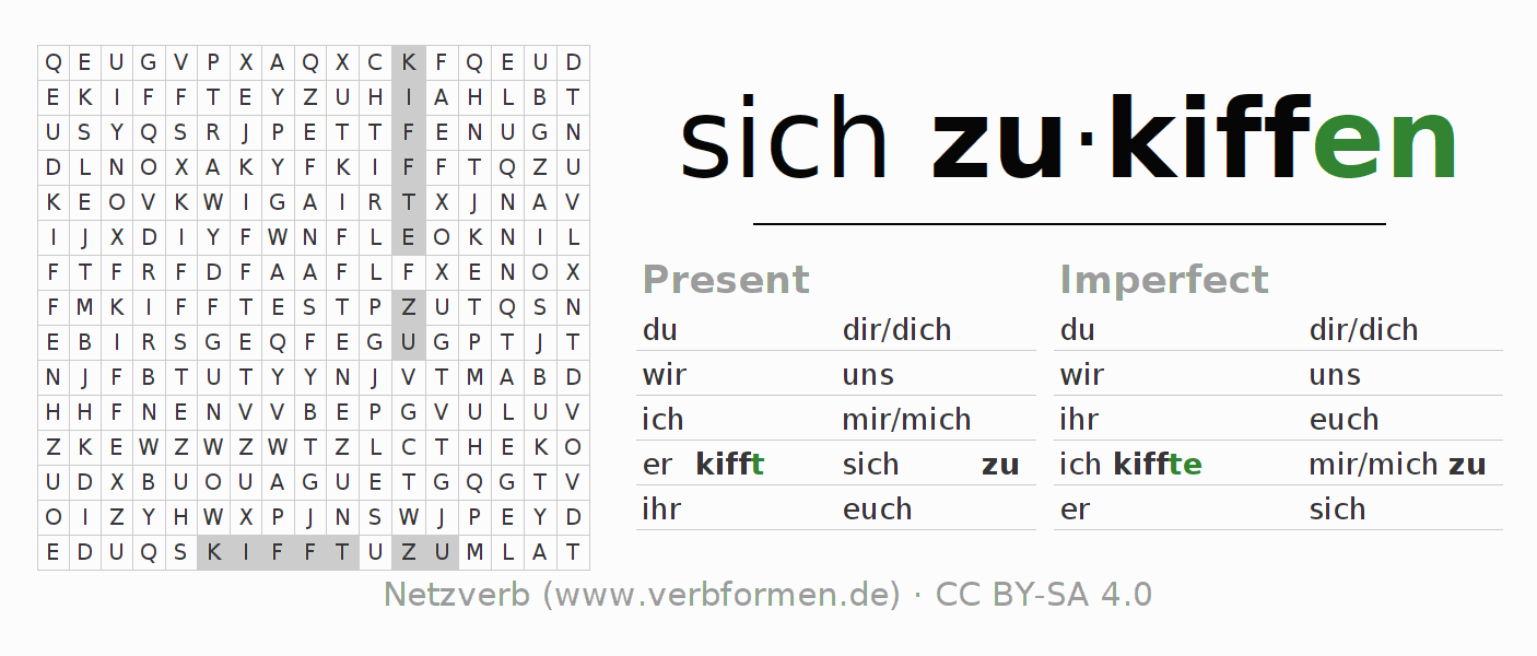 Word search puzzle for the conjugation of the verb sich zukiffen