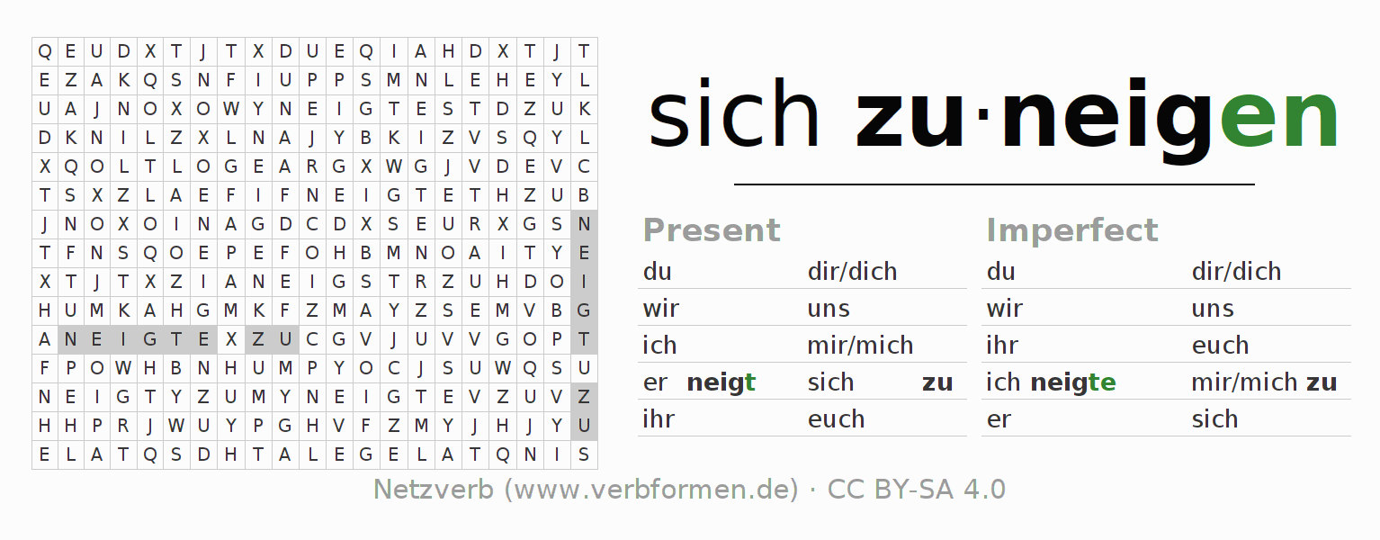 Word search puzzle for the conjugation of the verb sich zuneigen