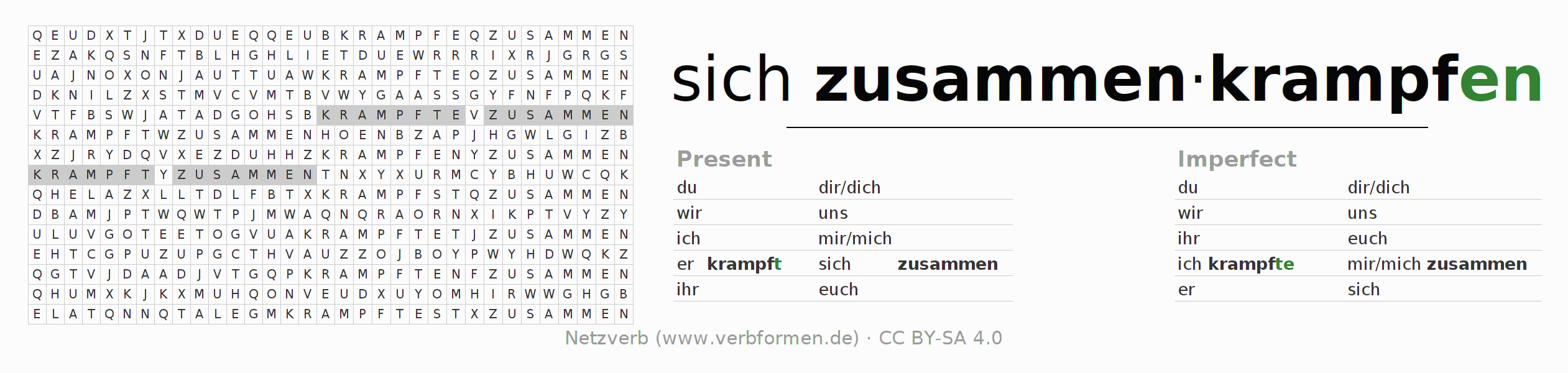 Word search puzzle for the conjugation of the verb sich zusammenkrampfen