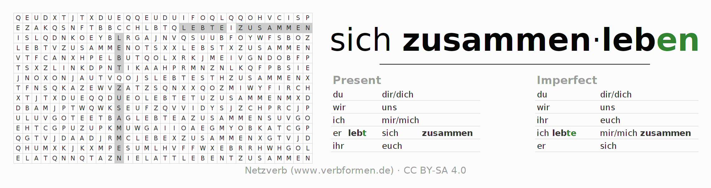 Word search puzzle for the conjugation of the verb sich zusammenleben