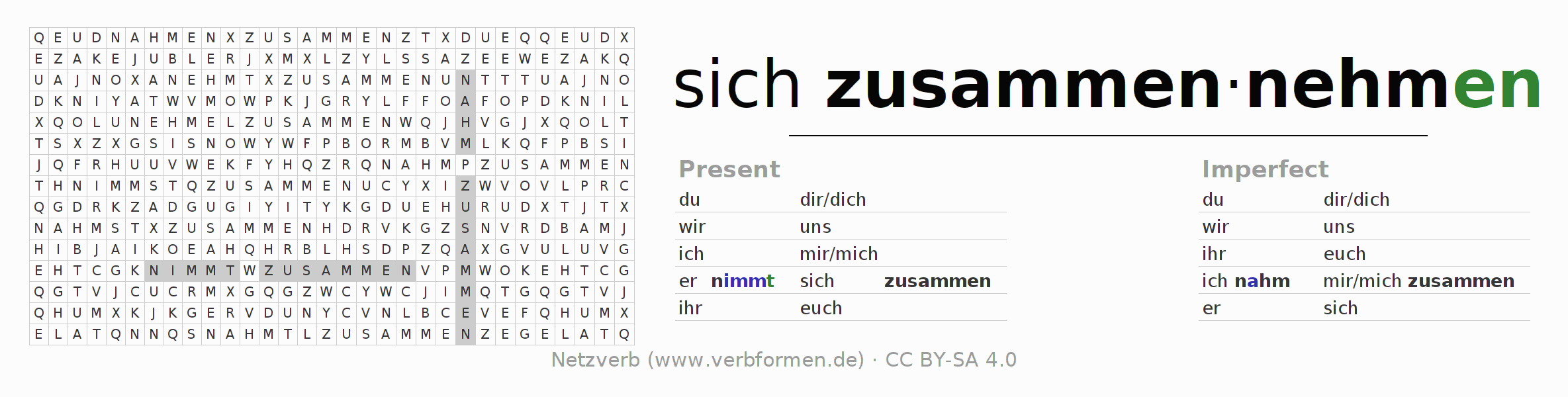 Word search puzzle for the conjugation of the verb sich zusammennehmen