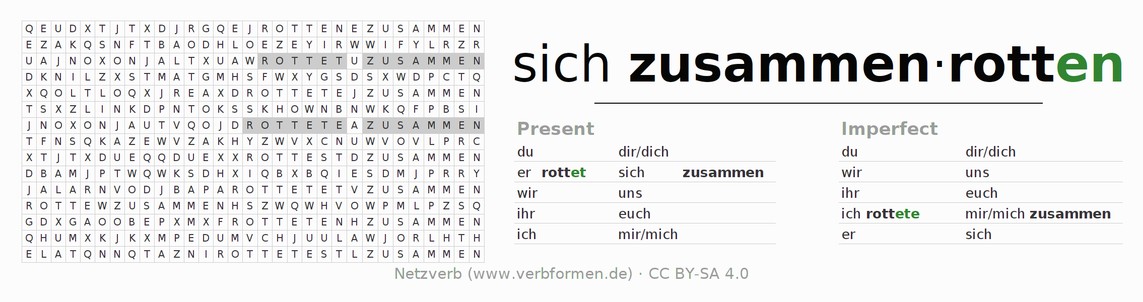 Word search puzzle for the conjugation of the verb sich zusammenrotten