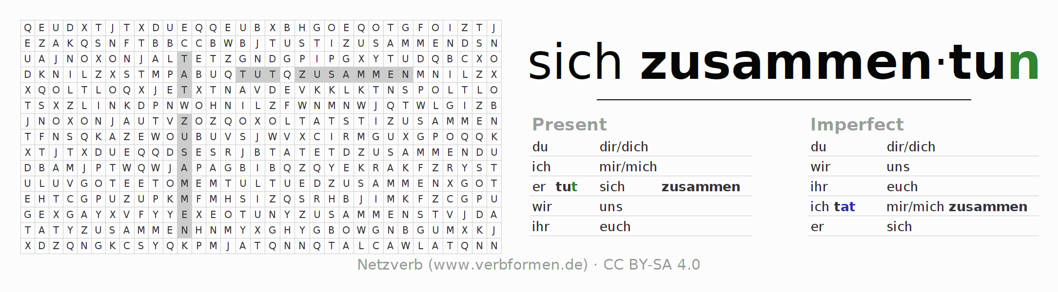 Word search puzzle for the conjugation of the verb sich zusammentun