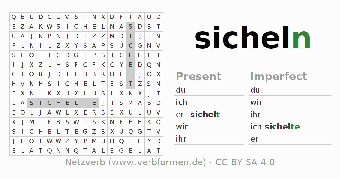 Word search puzzle for the conjugation of the verb sicheln
