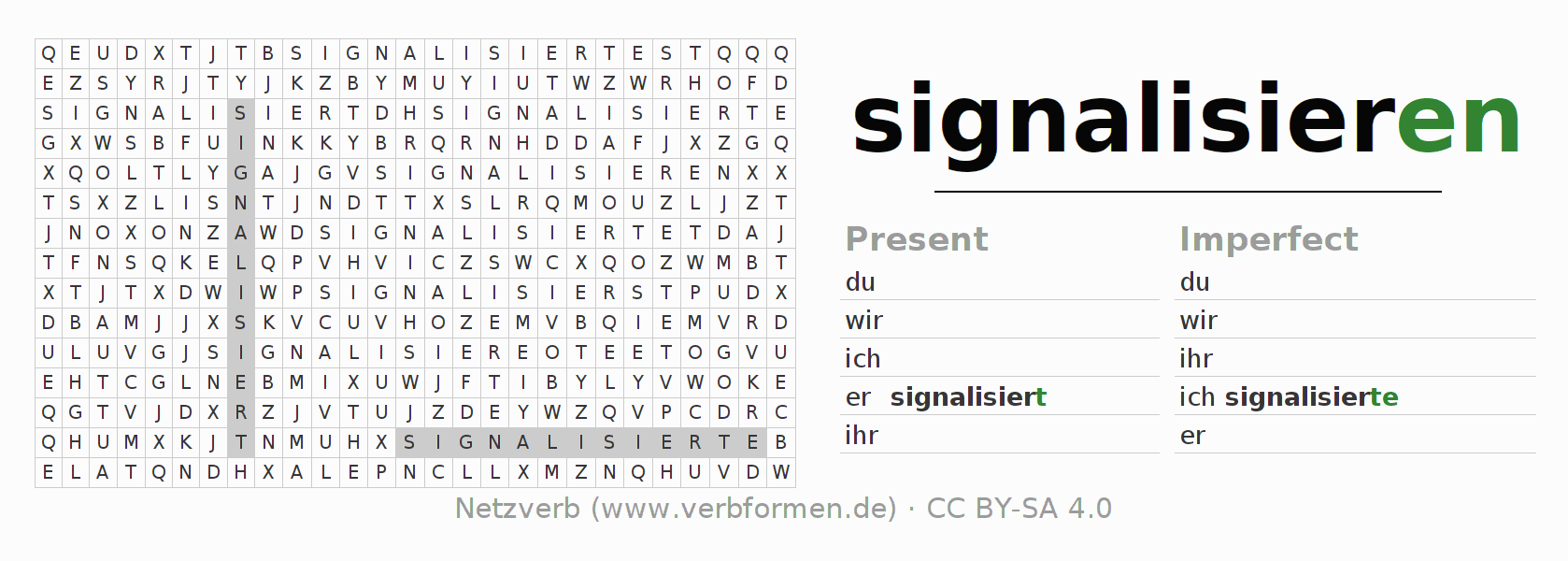 Word search puzzle for the conjugation of the verb signalisieren