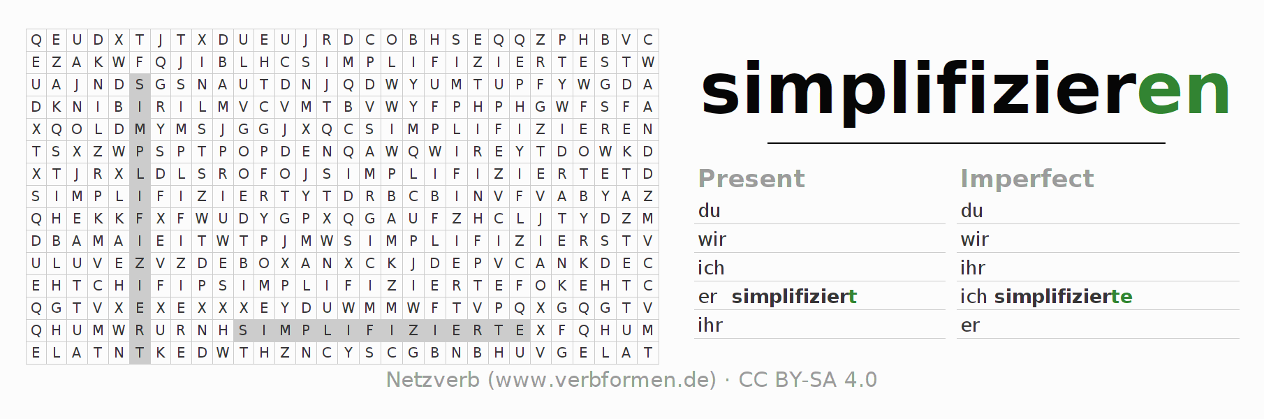 Word search puzzle for the conjugation of the verb simplifizieren