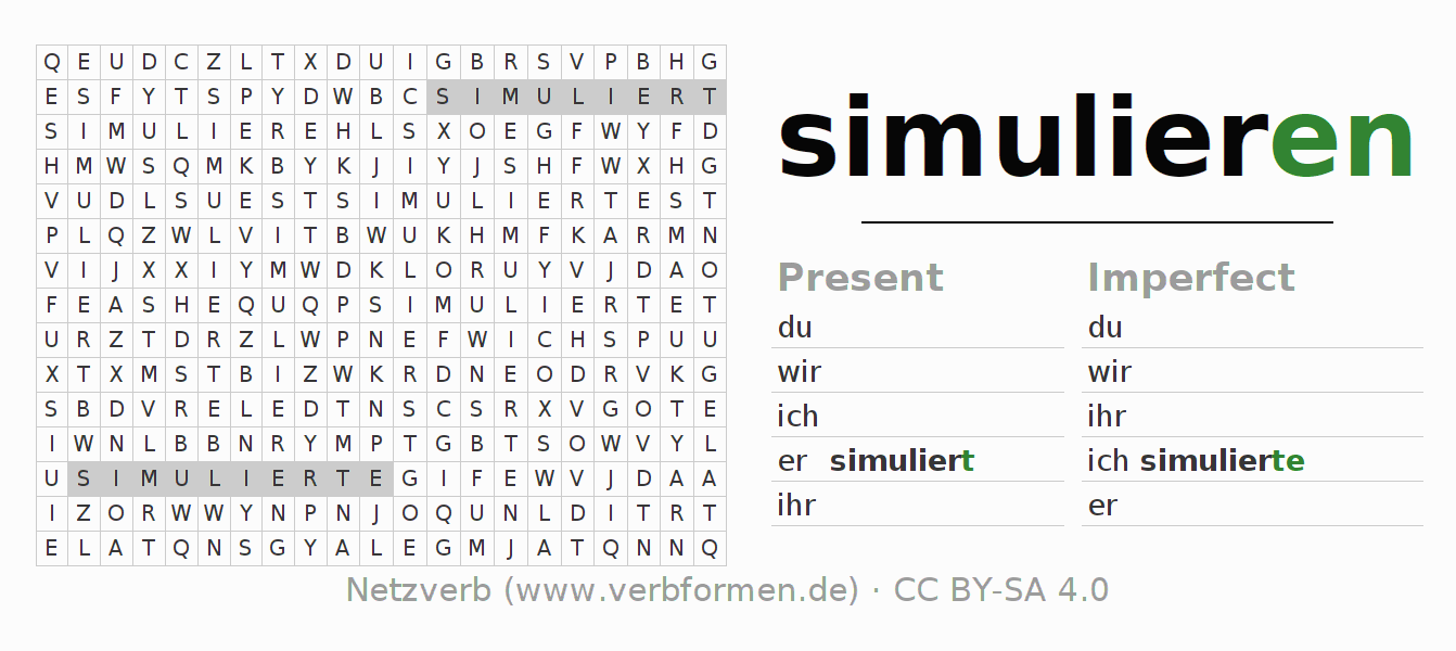 Word search puzzle for the conjugation of the verb simulieren