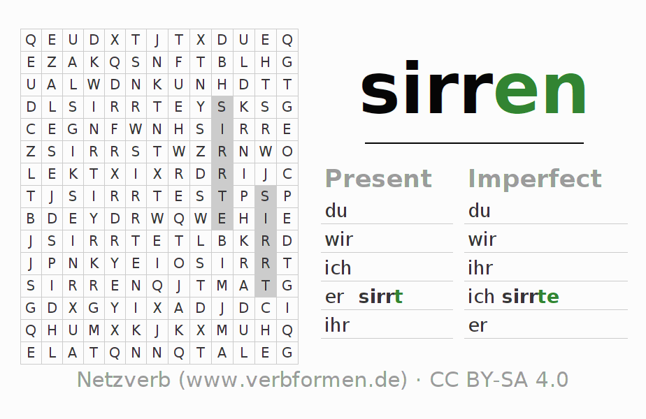 Word search puzzle for the conjugation of the verb sirren (hat)