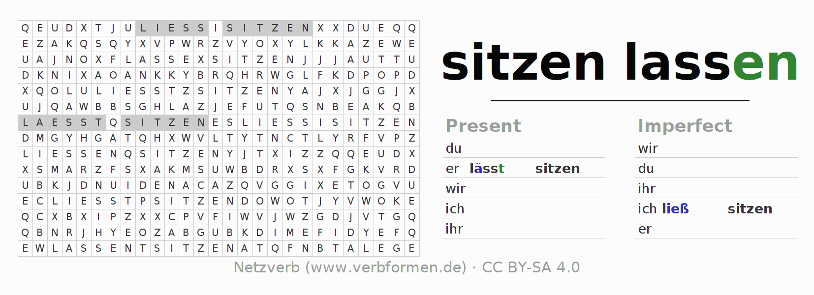 Word search puzzle for the conjugation of the verb sitzenlassen