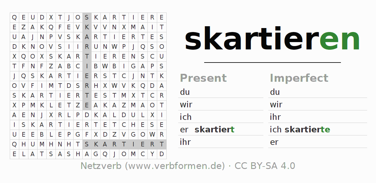 Word search puzzle for the conjugation of the verb skartieren