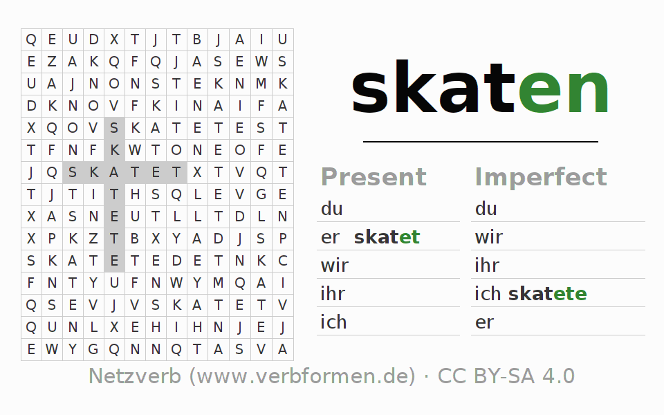 Word search puzzle for the conjugation of the verb skaten (ist)