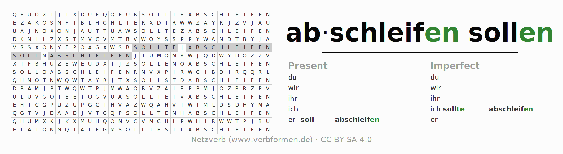Word search puzzle for the conjugation of the verb soll abschleifen
