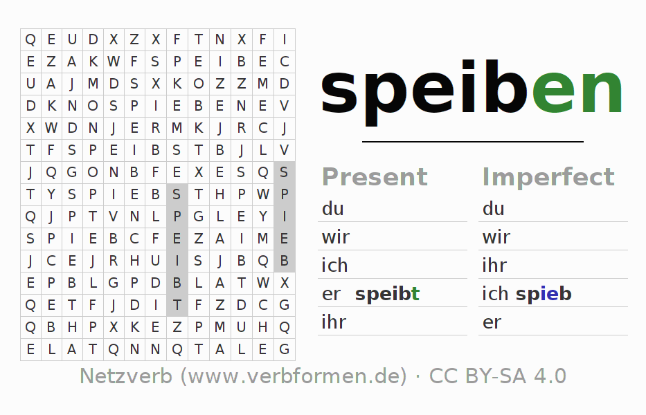 Word search puzzle for the conjugation of the verb speiben