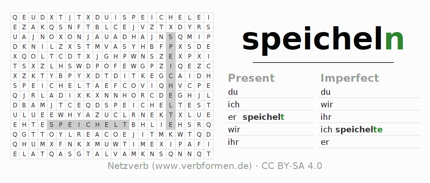 Word search puzzle for the conjugation of the verb speicheln