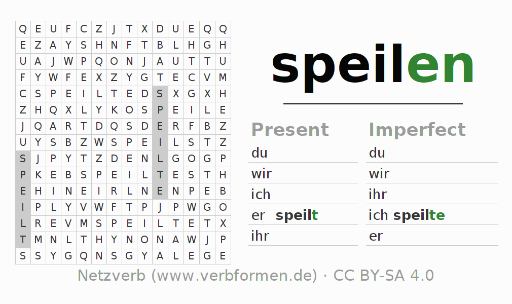 Word search puzzle for the conjugation of the verb speilen