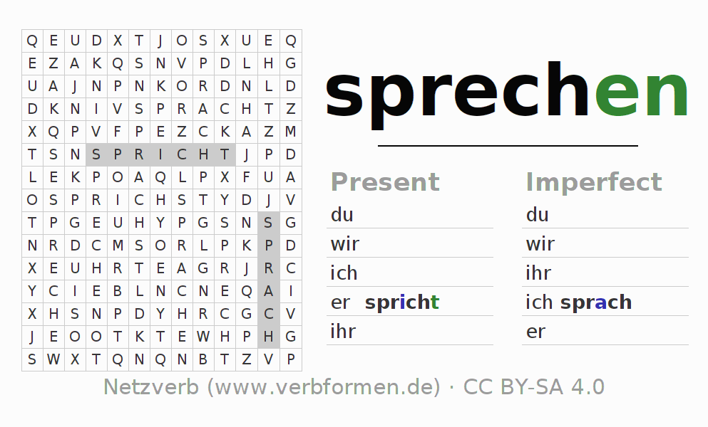 Worksheets Verb Sprechen Exercises For Conjugation Of