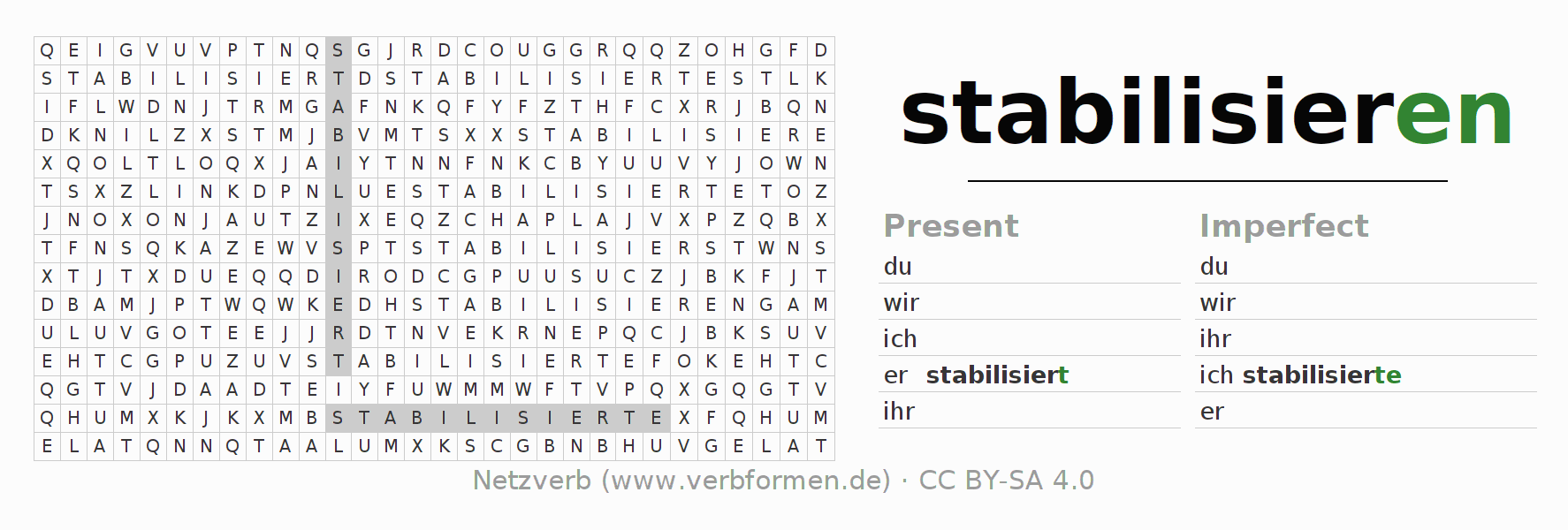 Word search puzzle for the conjugation of the verb stabilisieren