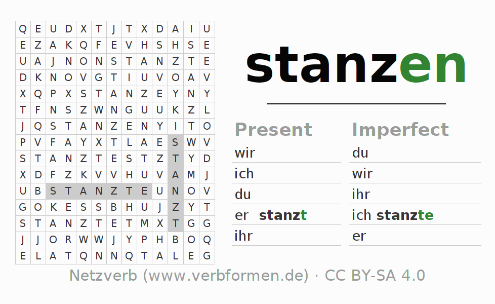 Word search puzzle for the conjugation of the verb stanzen