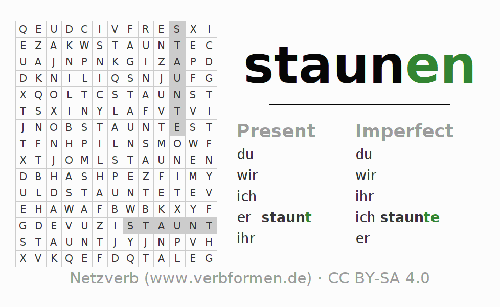 Word search puzzle for the conjugation of the verb staunen