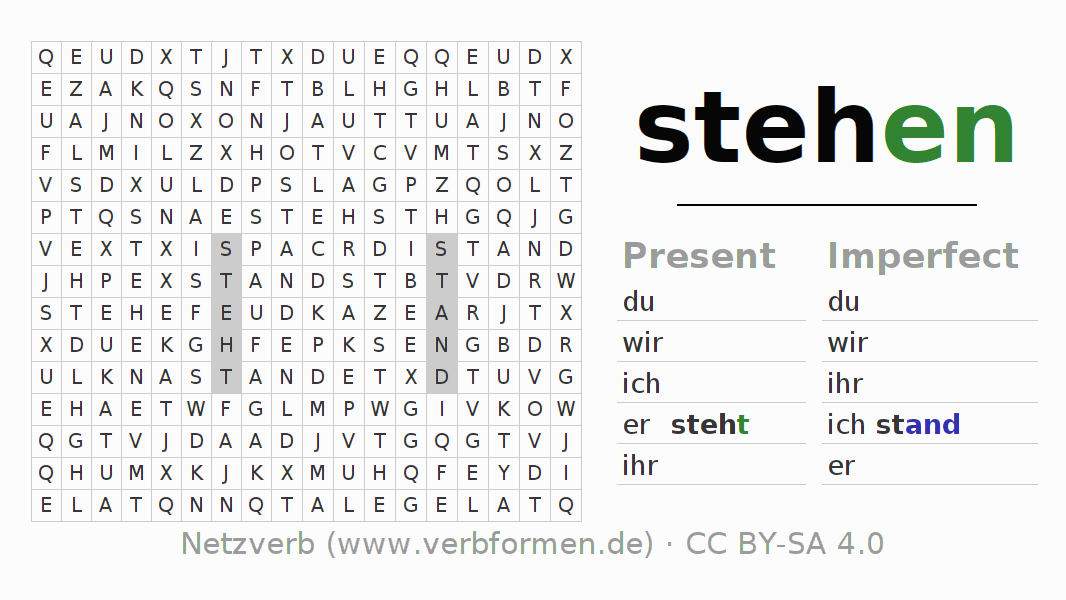 Word search puzzle for the conjugation of the verb stehen (hat)