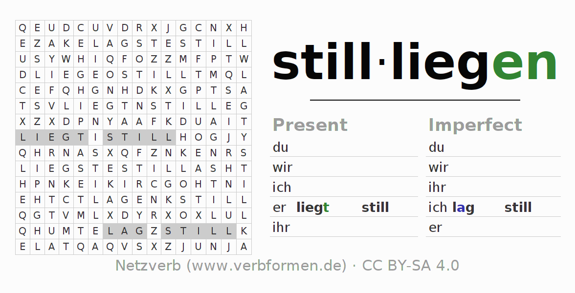 Word search puzzle for the conjugation of the verb stillliegen (ist)