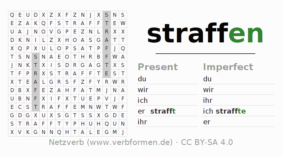 Word search puzzle for the conjugation of the verb straffen