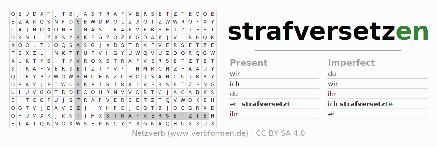 Word search puzzle for the conjugation of the verb strafversetzen