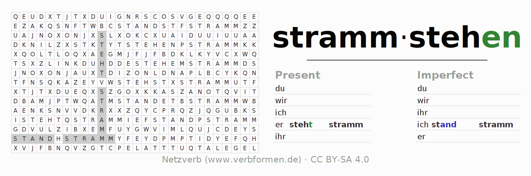 Word search puzzle for the conjugation of the verb strammstehen (hat)