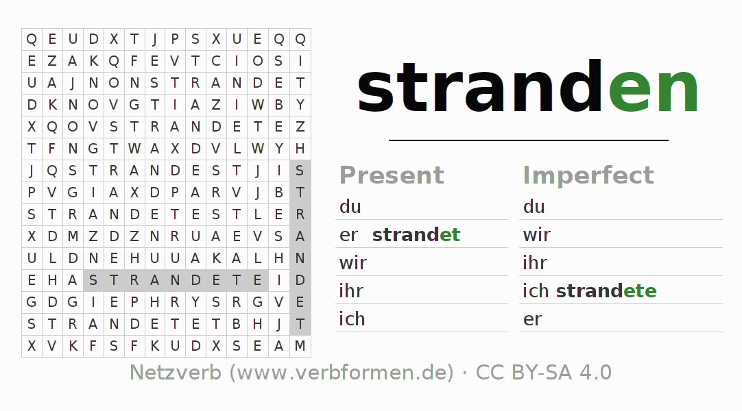 Word search puzzle for the conjugation of the verb stranden
