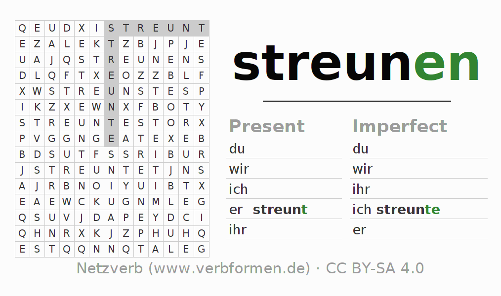 Word search puzzle for the conjugation of the verb streunen (ist)